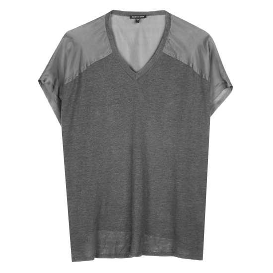 Linen Silk Jersey w/Silk Habutai Pullover