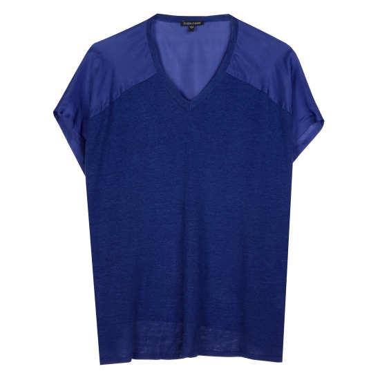 Linen Silk Jersey w/Silk Habutai Blouse