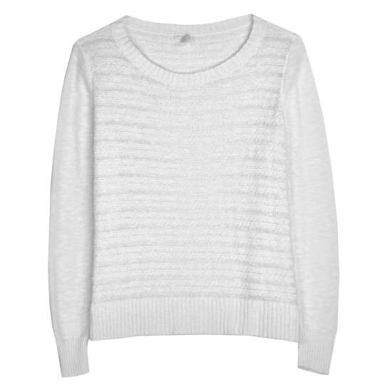 Linen Cotton Slub Scallop Stripe Pullover