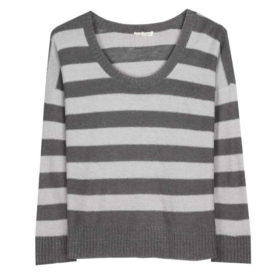 Striped Fine Gauge Linen Pullover