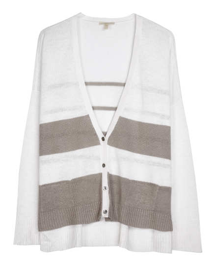 Fine Gauge Linen Wide Stripe Cardigan