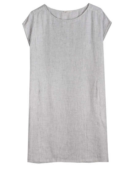 Organic Linen Slub Check Dress