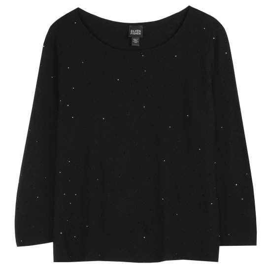 Beaded Fine Merino Crepe Pullover