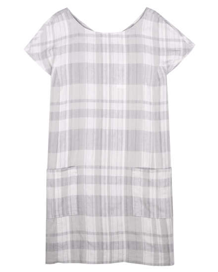 Airy Organic Linen Cotton Plaid Dress