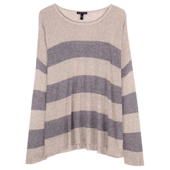 Sleek Tencel Merino Rib Stripe Pullover