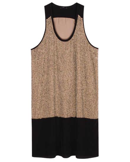 Sequined Rivulet on Silk Crepe de Chine Dress