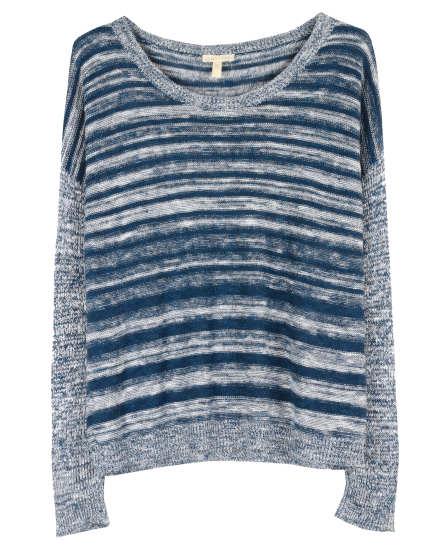 Organic Linen Cotton Slub Blurred Stripe Pullover