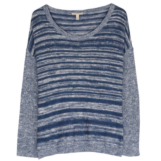 Organic Linen Cotton Slub Blurred Stripe Pullover