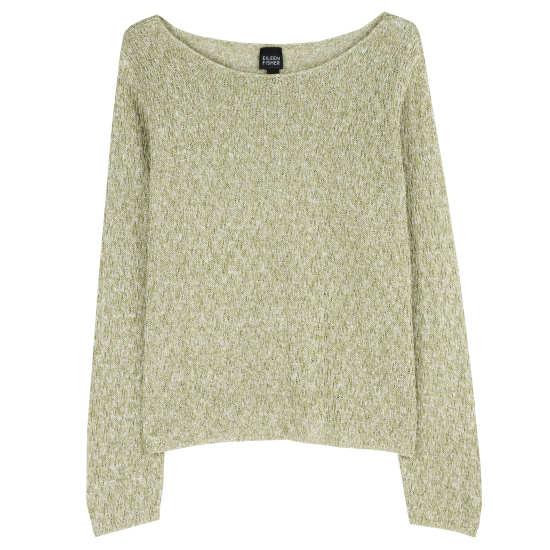 Linen Tonal Lace Rib Pullover
