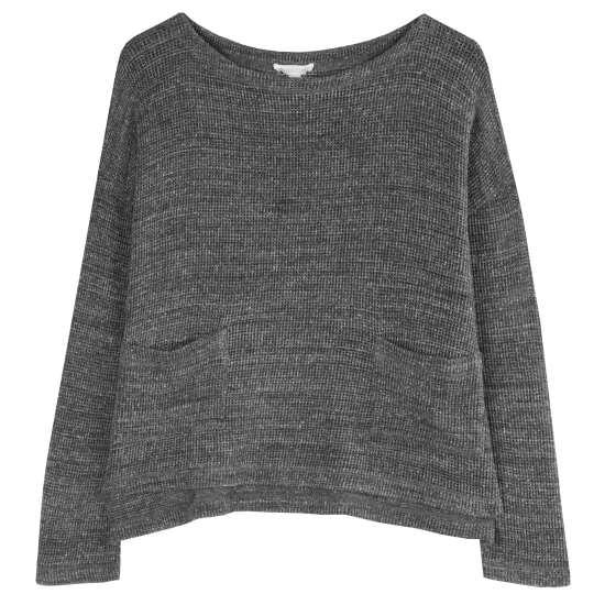 Melange Cotton Mesh Pullover