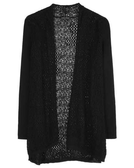 Washable Wool Crepe Lace Cardigan