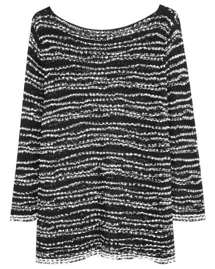Nubbly Cotton Tape Wave Pullover