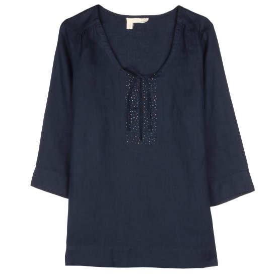 Handkerchief Linen With Beads Blouse