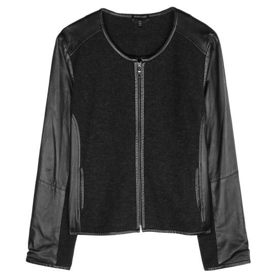 Felted Merino Doubleknit W/leather Trim Jacket