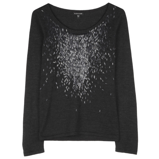 Feathered Sequined Knit Pullover