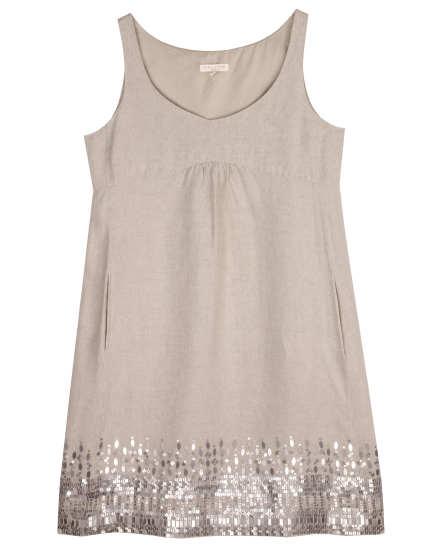 Organic Linen with Sequins Dress