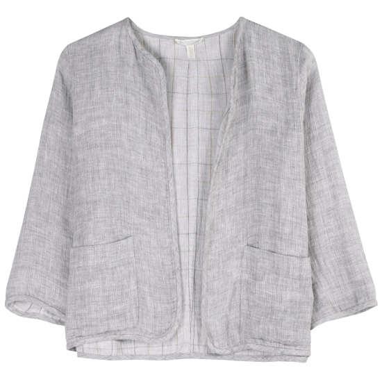 Doubleface Linen Cotton Check Jacket