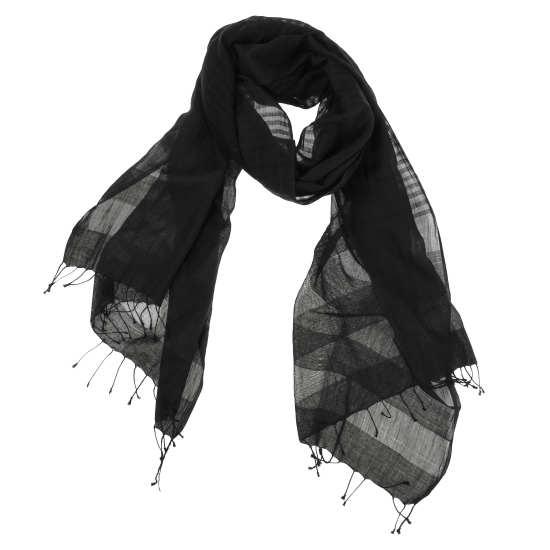 Handloomed Organic Cotton Silk Stripe Scarf