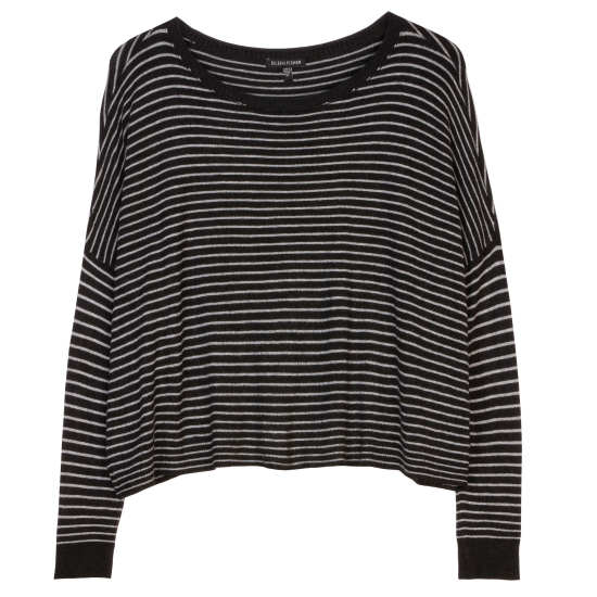 Cozy Viscose Stretch Knit w/Stripes Pullover