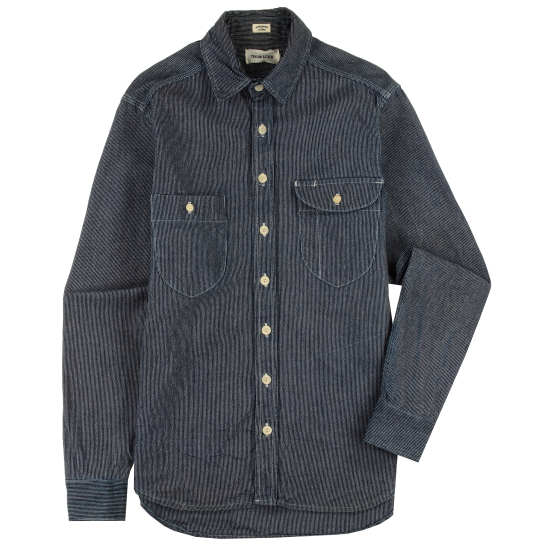 The Blue Triple Needle Railroad Stripe Utility Shirt