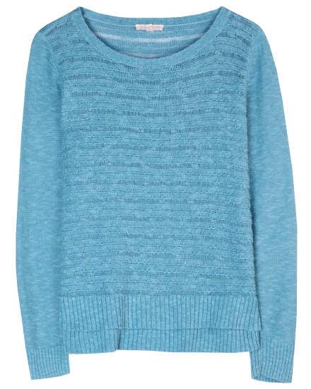 Linen Cotton Slub Scallop Stripe Pullover