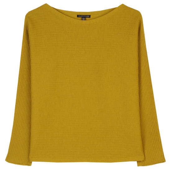 Washable Wool Crepe Rib Pullover