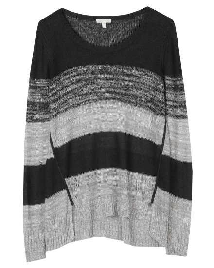 Blurred Organic Linen Stripe Pullover
