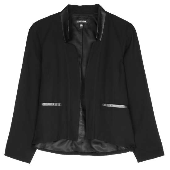 Silk Georgette Crepe w/Leather Jacket