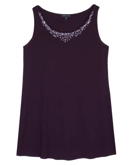 Stretch Silk Jersey with Sequins Tank