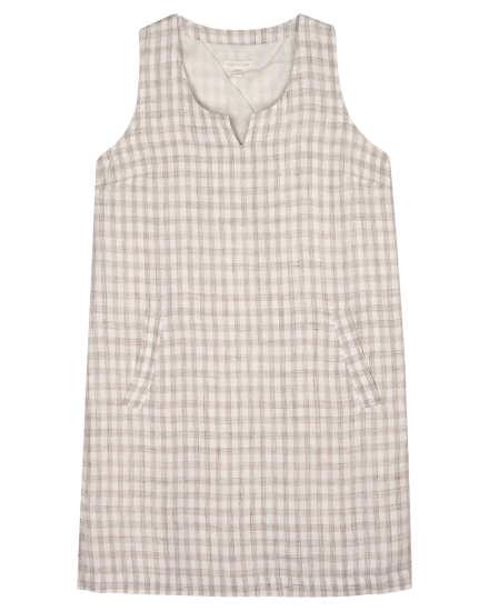 Organic Linen Gingham Slub Dress