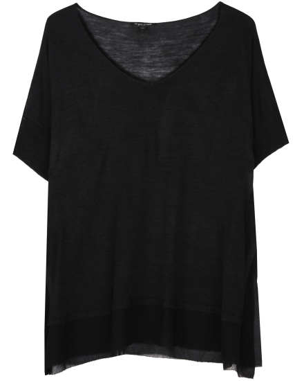 Silk Tussah Jersey With Chiffon Trim Tunic