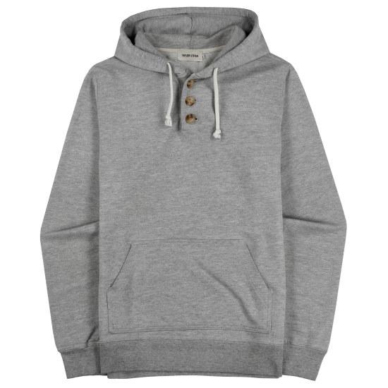 Heather Grey 3 Button Hooded Sweatshirt
