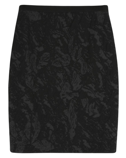 Washable Wool Floral Jacquard Skirt