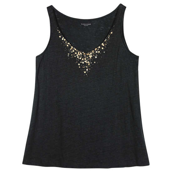 Organic Linen Jersey with Metal Sequins Tank