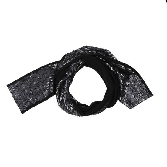 Feathered Sequined Knit Scarf