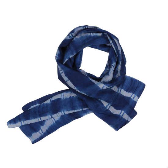 Silk Shibori Check Scarf