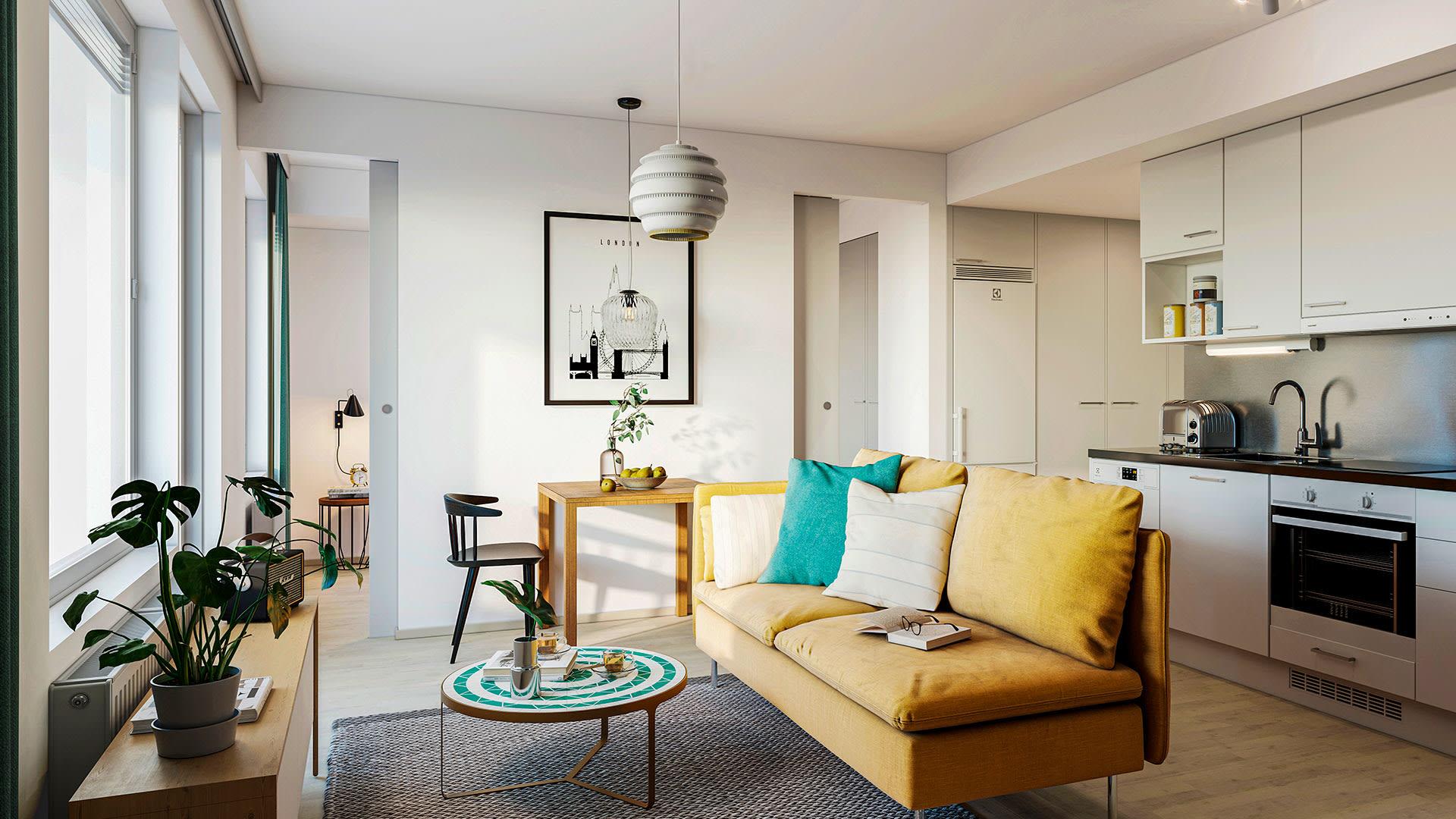 Visualisointi Sipoon Kalliokielon asunnosta A26, 35,5 m², 2h+kt