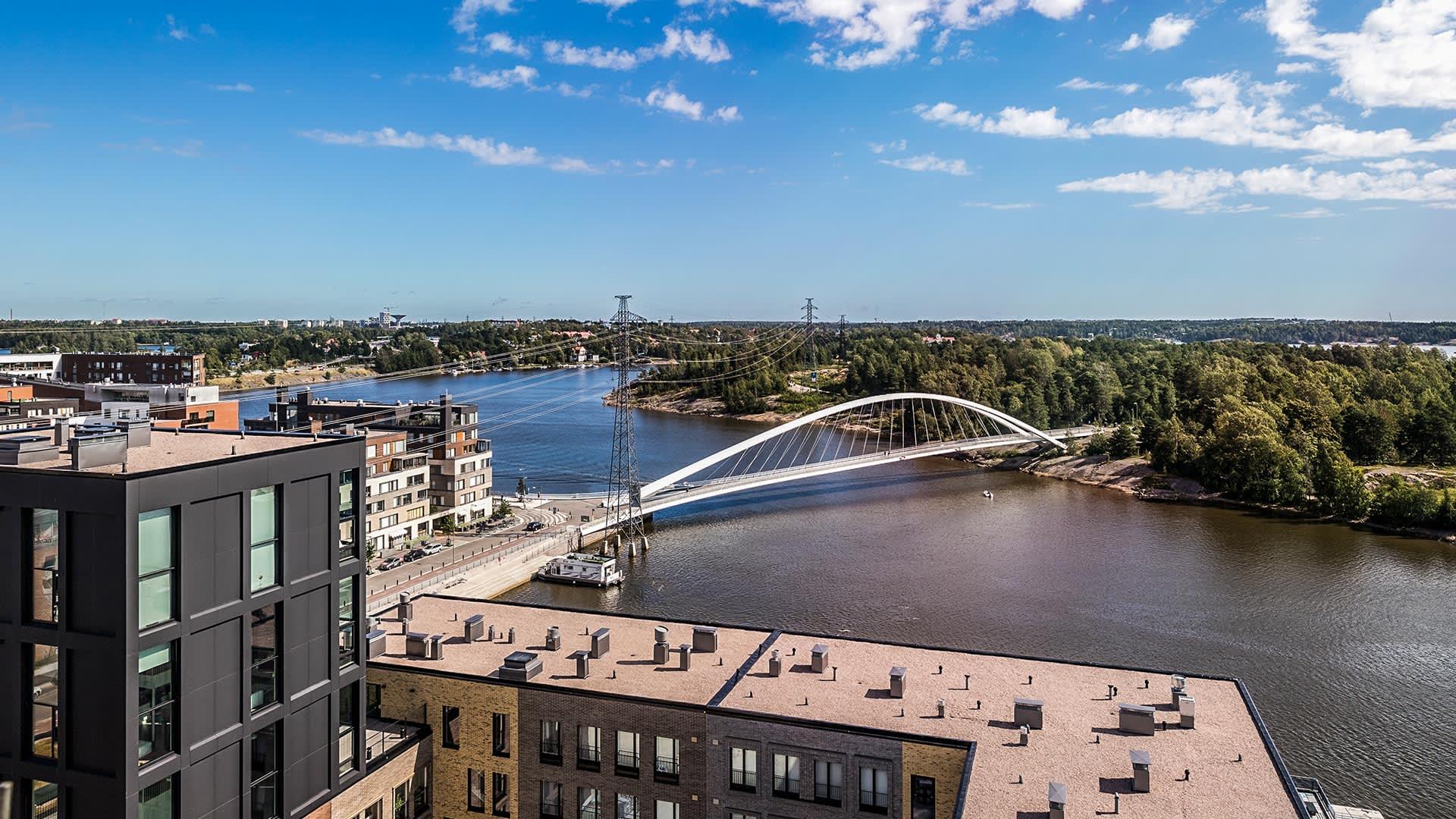 Kuva Asunto Oy Helsingin Maston asunnon G42 parvekkeelta.