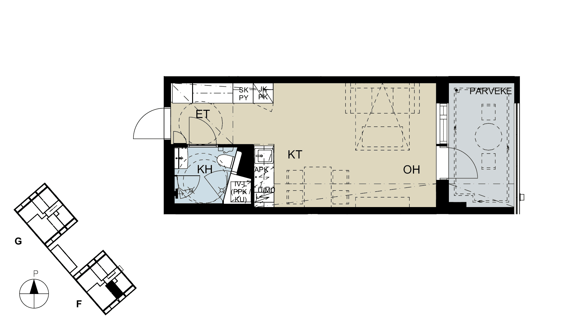 Asunto Oy Helsingin Kuninkaankallion asunnon pohjapiirros -YIT Koti