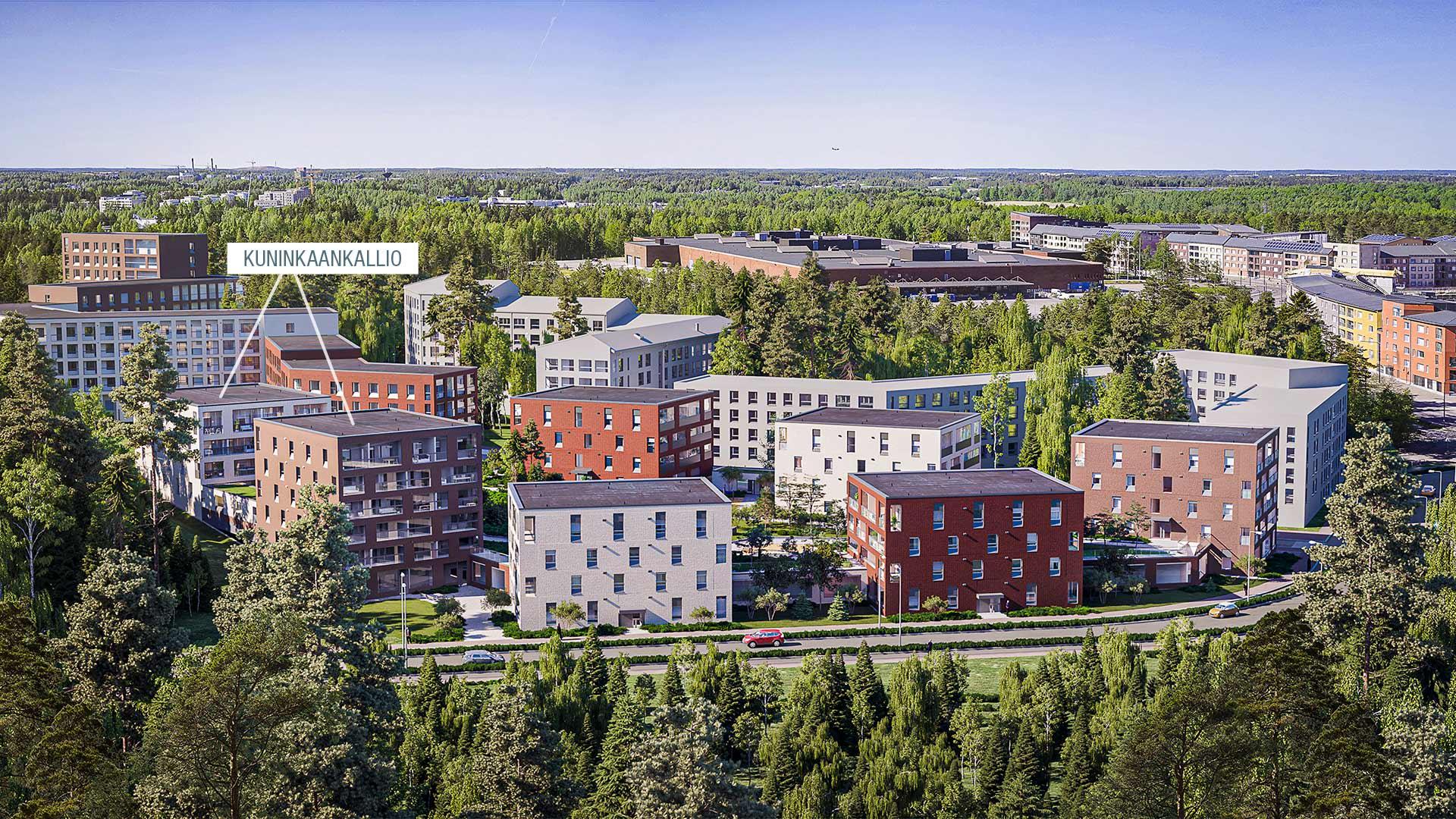 Visualisointi Asunto Oy Helsingin Kuninkaankalliosta. YIT Koti.