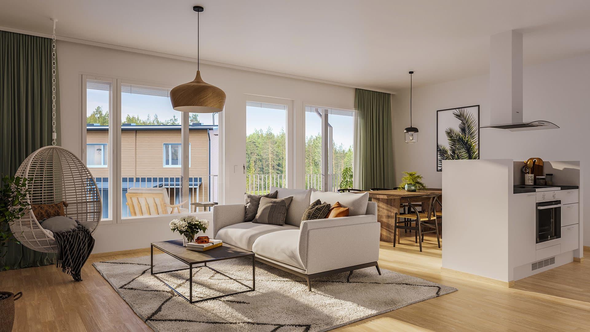 Suuntaa antava visualisointi Ylästössä sijaitsevasta Asunto Oy Vantaan Maalarista. YIT Koti.