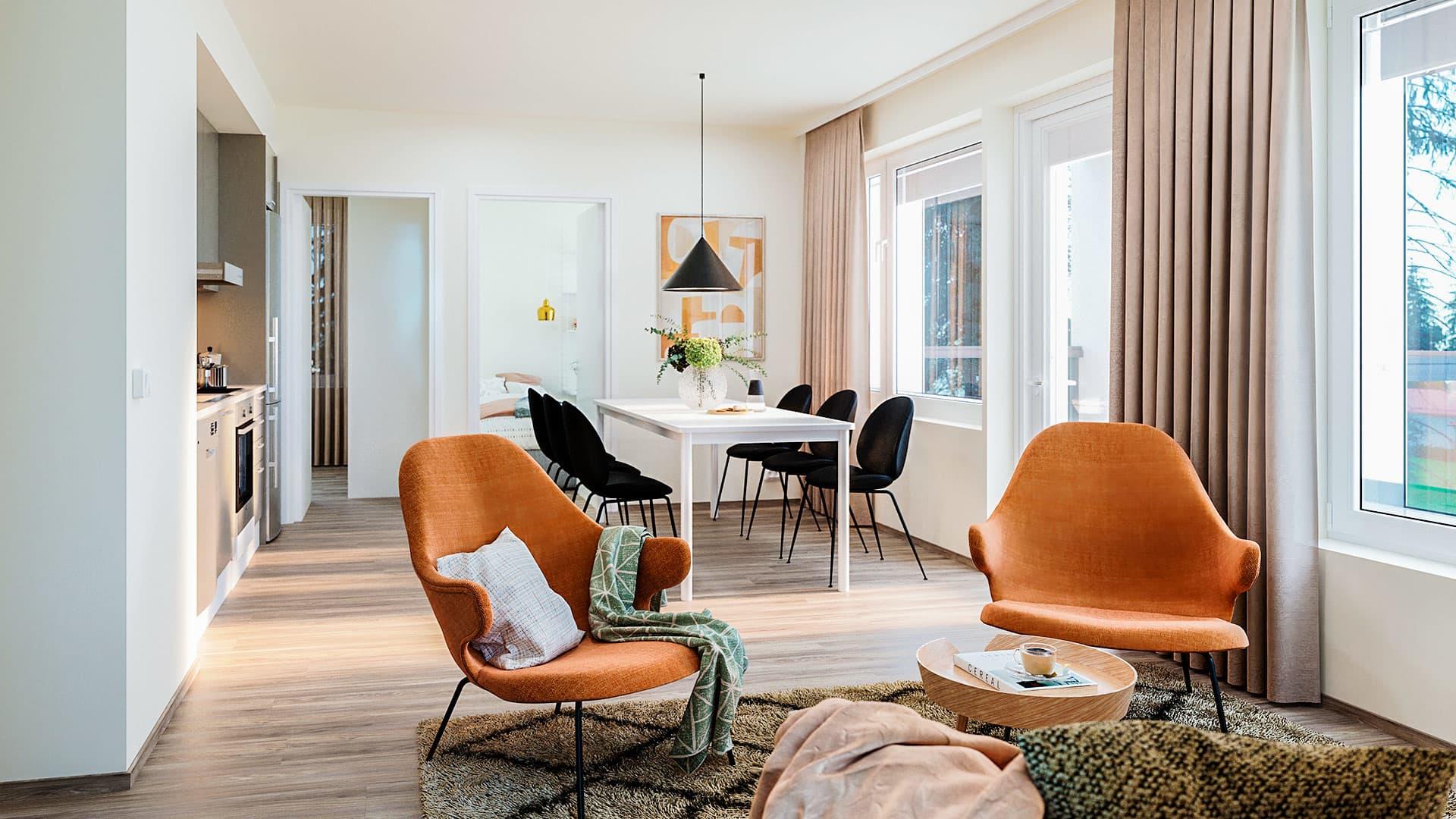 Suuntaa antava visualisointi Asunto Oy Hyvinkään Oihonnan 59 m2 asunnosta. YIT Koti.