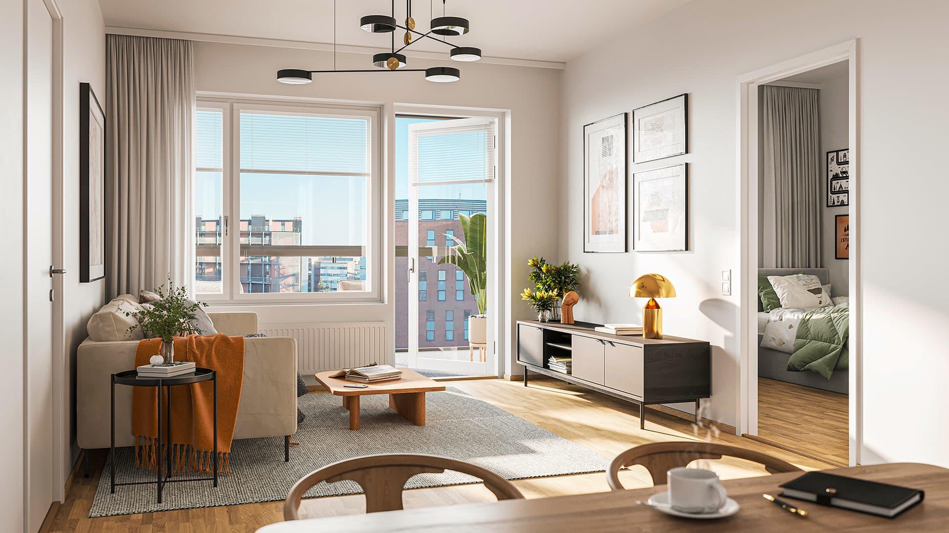 Asunto Oy Helsingin Rut, suuntaa antava visualisointi asunnosta.