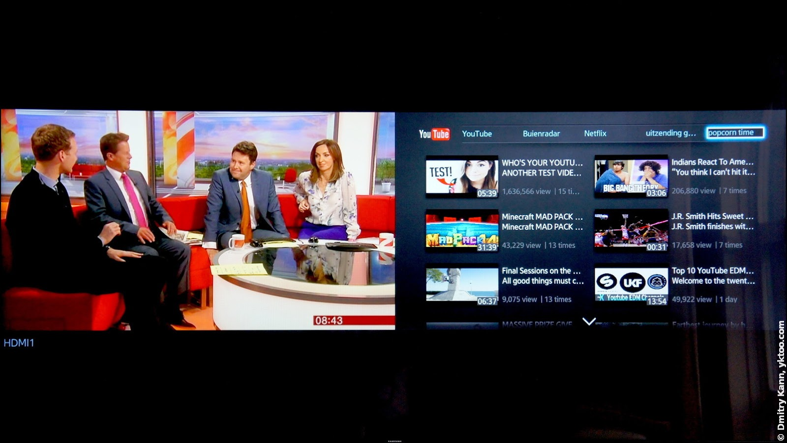 Multi-Link Screen: TV and YouTube.