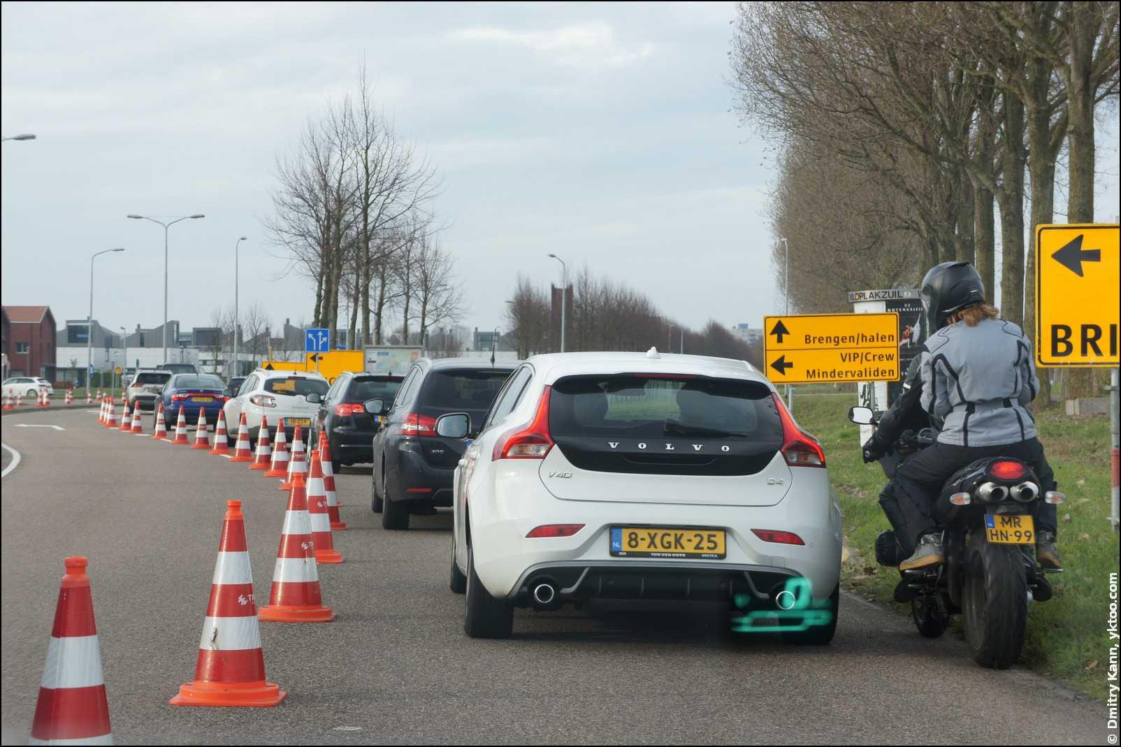 Пробки на подъезде к Expo Haarlemmermeer.