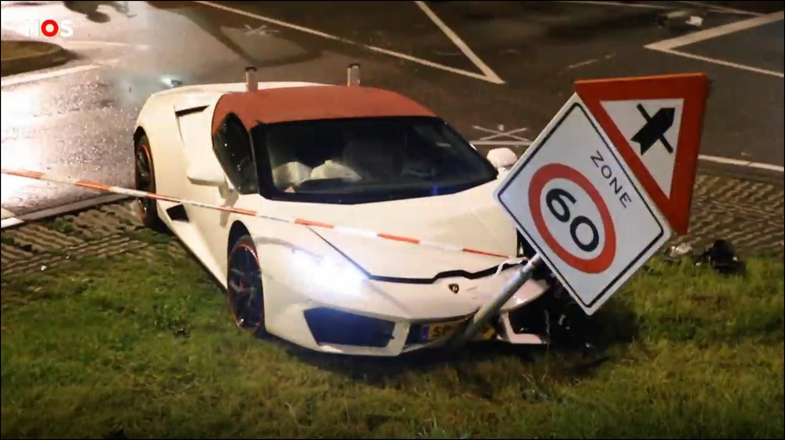 Lamborghini Huracán Spyder въехала в дорожный знак. Кадр из видео NOS.