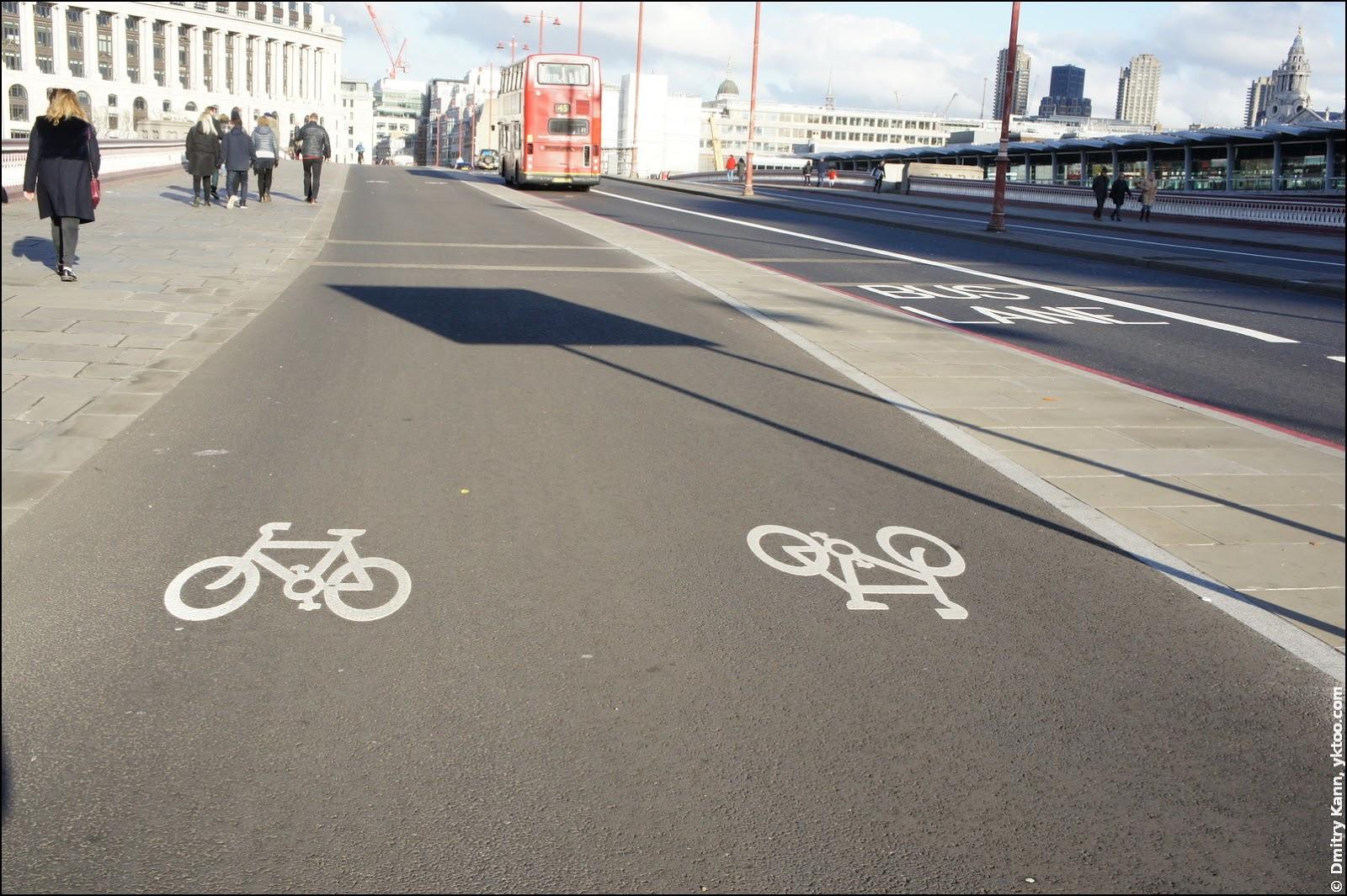 Велодорожка на Blackfriars Bridge.