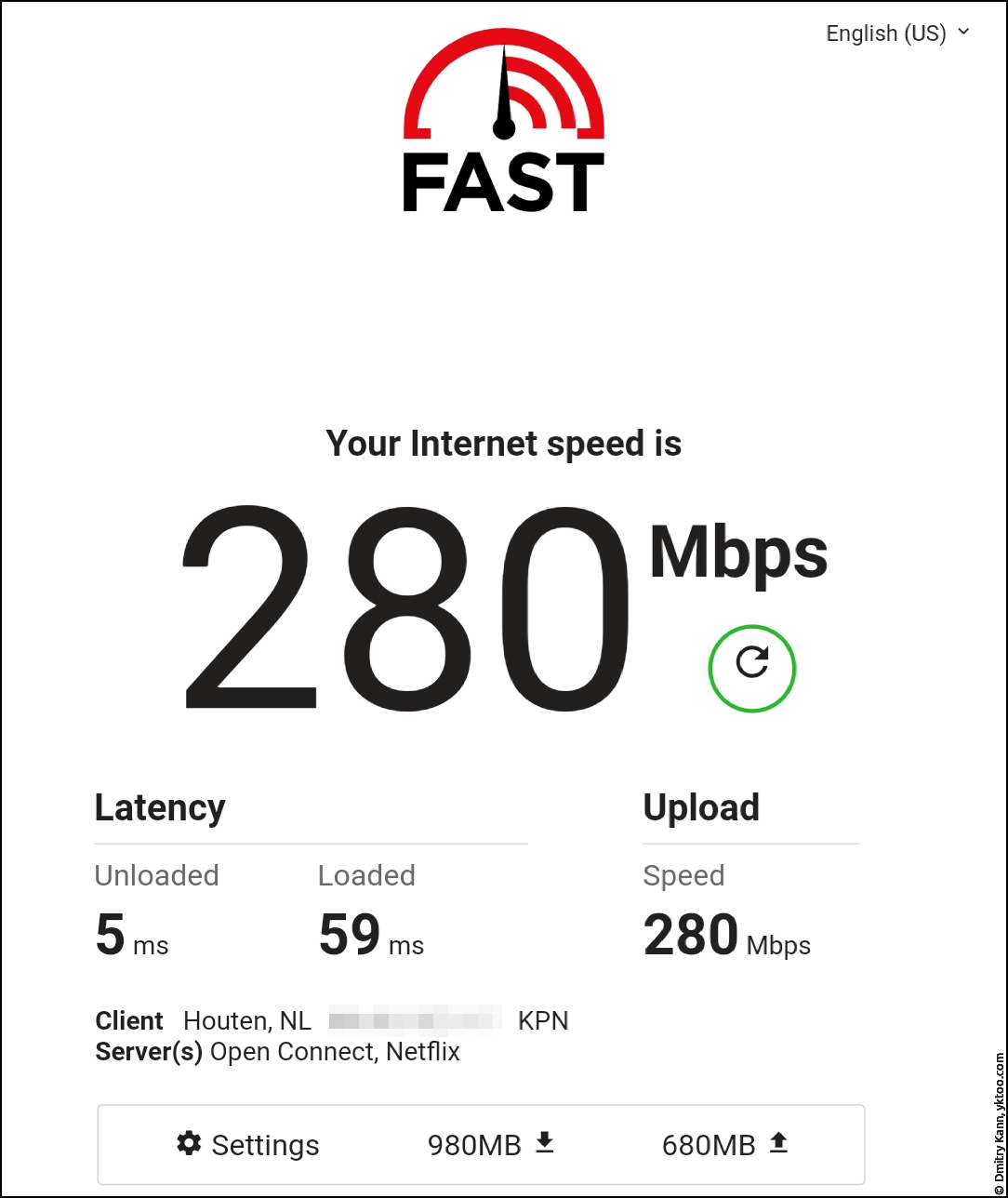 Wi-Fi speed, away from both router and satellite — fast.com.
