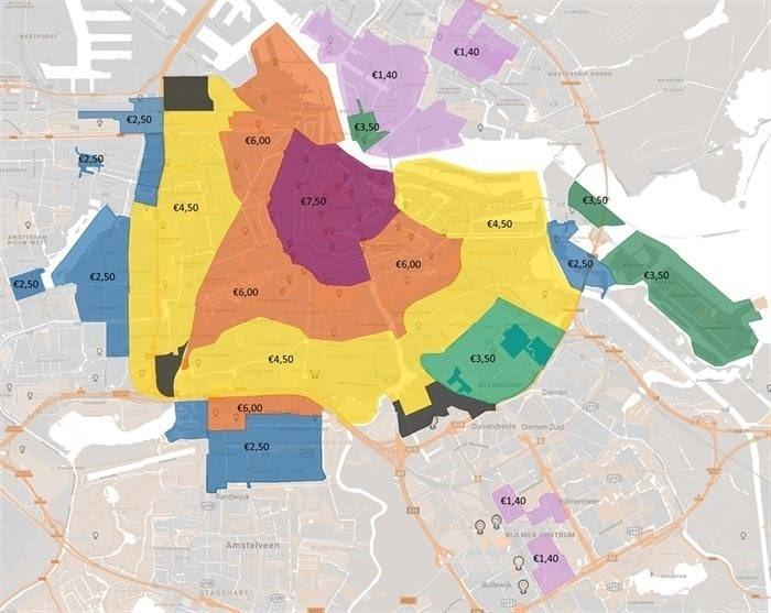 Парковочные тарифы по зонам. Источник: amsterdam.nl.