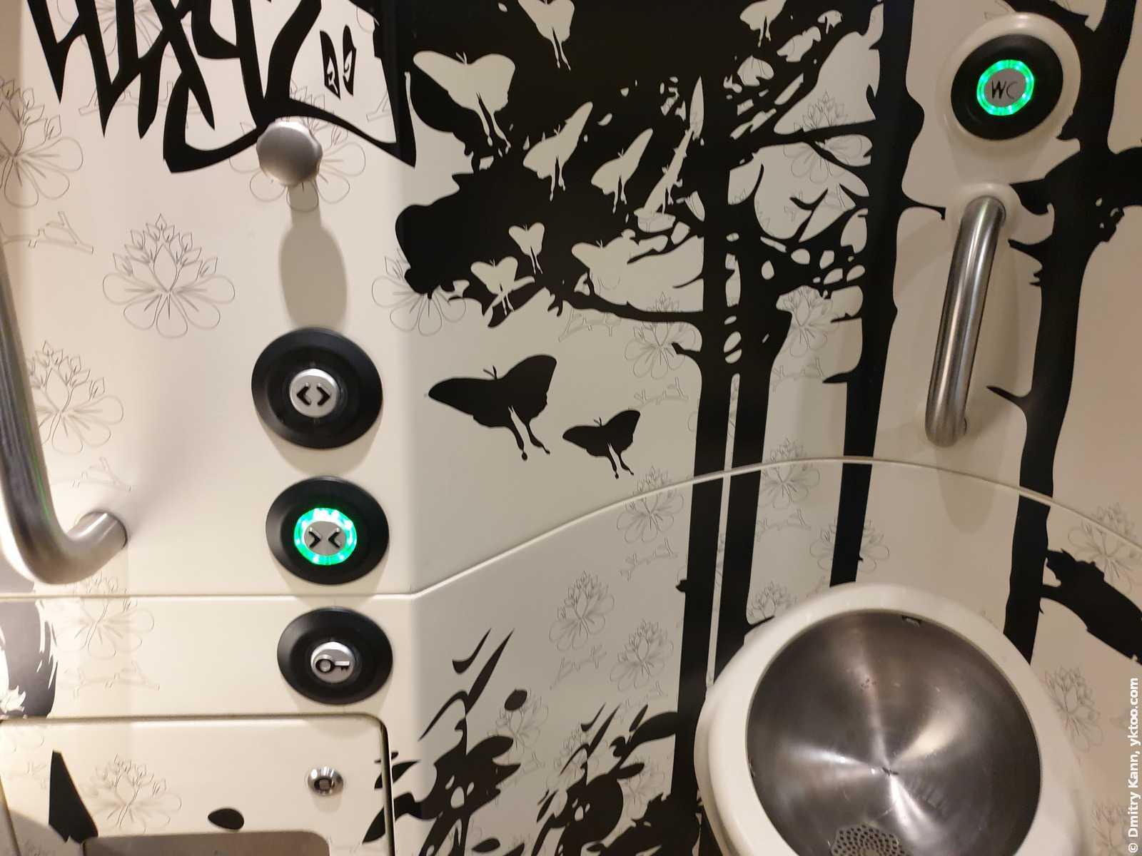 Автоматический туалет в поезде.